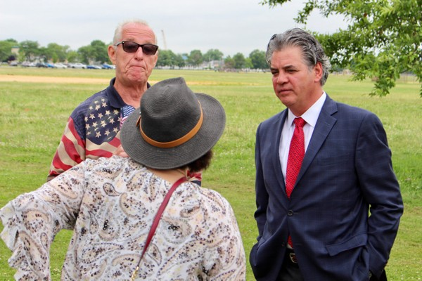 South Shore Assembly candidate Glenn Yost talking to Staten Islanders at a property tax rally at Miller Field. (Staten Island Advance/Erik Bascome)