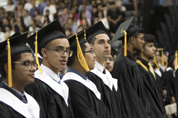 Eighth-graders received acceptance letters from the city's specialized high schools, including Staten Island Technical High School. In this photo, graduates look out at the crowd during the Staten Island Technical High School graduation. (Staten Island Advance/Shira Stoll)