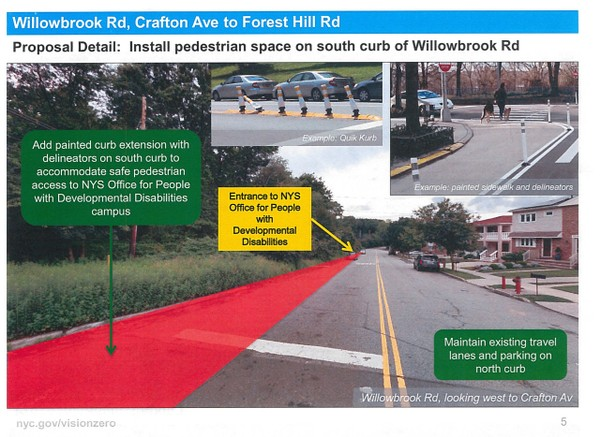 Willowbrook Road residents are concerned about a proposed DOT project that would eliminate approximately 16 parking spots. (Courtesy of DOT)
