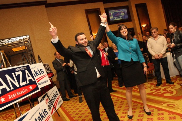 Councilman Joseph Borelli and Assemblywoman Nicole Malliotakis in November 2014.