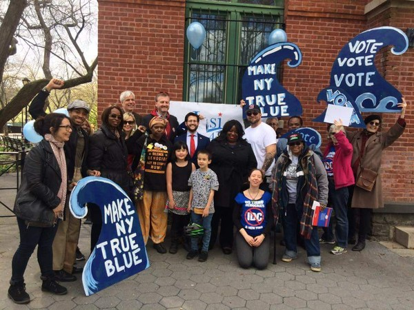 Democrat Jasmine Robinson, center, rallying with supporters. (Courtesy Jasmine Robinson)