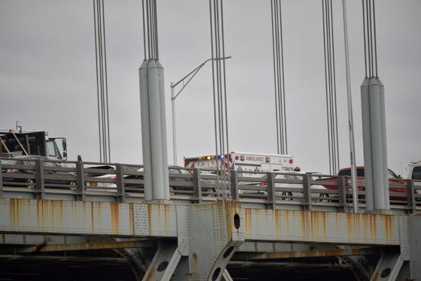 Emergency officials respond to the Verrazano-Narrows Bridge on Tuesday, April 17, 2018.