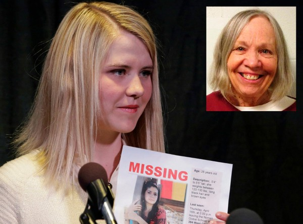 In this April 24, 2015 photo, Elizabeth Smart holds a photo of Elizabeth Elena Laguna Salgado during a news conference, in Sandy, Utah. Wanda Barzee, inset, the woman convicted of helping a former street preacher kidnap Smart as a teenager from her Salt Lake City bedroom in 2002 and held her captive, will be released from prison next week. (AP Photo, Utah Department of Corrections via AP)
