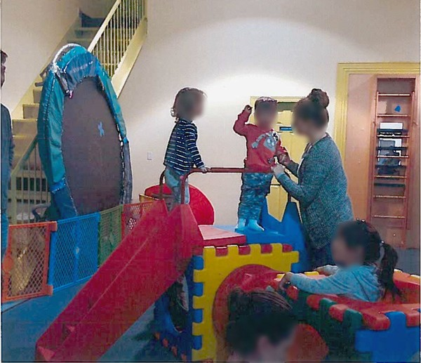 """A 3-year-old boy was injured after falling from on top of this play apparatus when it """"came apart and collapsed"""" at JW Tumbles, a Charleston kids' gym, in April 2018, a lawsuit alleges. (Courtesy of Marc S. Albert)"""