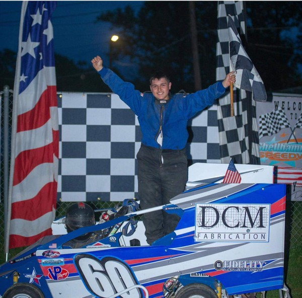 Joseph Costello Jr. celebrating his win at Shellhammer's Speedway in Shoemakerville, Pennsylvania.