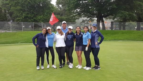 Ava Graziano, Isabella Mancino, Maria Masi, Coach Jim Garin, Tess Hall, Emily Atassi, Victoria Alonso, and Coach Lindsey Clark. (Left to right)