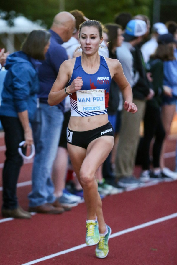 Staten Islander Stephanie Van Pelt striding out prior to her Staten Island record-breaking performance in the Adrian Martinez Women's Mile (Photo courtesy of Kevin Morris)