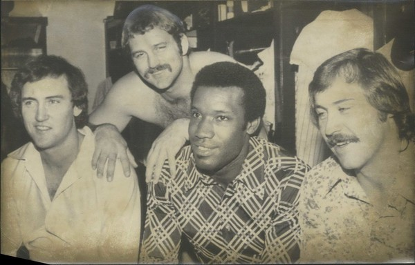 New York Yankees' All-Star delegation. New York Yankees players named to the American League All-Star team get together in the clubhouse of Shea Stadium after a Sunday game with Minnesota was rained out. From left are third baseman Graig Nettles, catcher Thurman Munson, outfielder Bobby Bonds and pitcher Catfish Hunter. Sports, Baseball All-Stars.