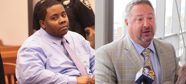 Michael Sykes, seen at left in this 2017 file photo, is being retried on first-degree murder charges stemming from the deaths of two girls - one of whom was his daughter - in a Willowbrook hotel in February 2016. Attorney Mario Gallucci, seen at right in a 2017 photo, represents him. (Staten Island Advance)