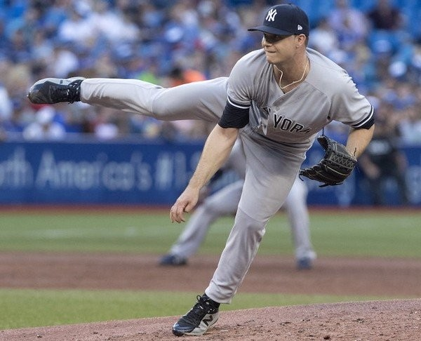 Yankees right-hander Sonny Gray's ERA is up to 5.85 following a five-run, two-inning start against the Toronto Blue Jays on Friday night at Rogers Centre. (Fred Thornhill | The Canadian Press via AP)
