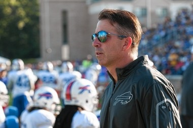Buffalo Bills president Russ Brandon watches drills during the training camp last August in Pittsford, N.Y.