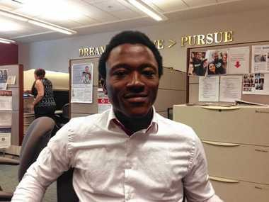 Michael Oviosu, a student at Syracuse University and co-founder of ParkAmigo. The new company faces some hurdles presented by Syracuse's zoning rules.