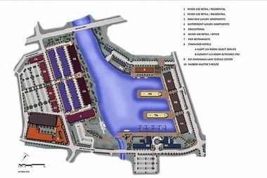Master plan for COR Development Co.'s $324 million redevelopment of the Syracuse Inner Harbor. (Click on image for larger view.)