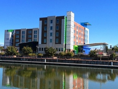 A 134-room Aloft Hotel under construction by COR Development Co. at the Syracuse Inner Harbor is scheduled to open in May.