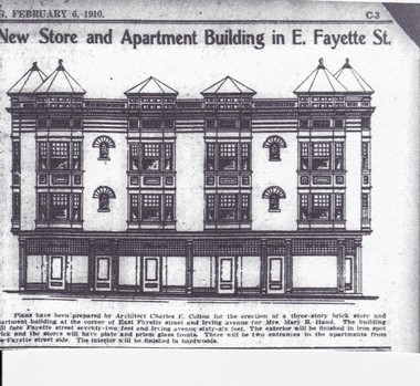 An article in The Syracuse Herald in 1910 shows plans for the Sylvester building at 900 E. Fayette St., Syracuse. The plans show a three-story building, but the structure was built with four stories. (Click to enlarge)
