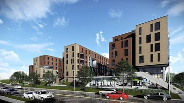 Rendering shows a proposed 363-bedroom student apartment building at the southeast corner of East Genesee Street and Walnut Avenue in Syracuse. The Syracuse Industrial Development Agency approved tax breaks for the project on Jan. 24, 2017.