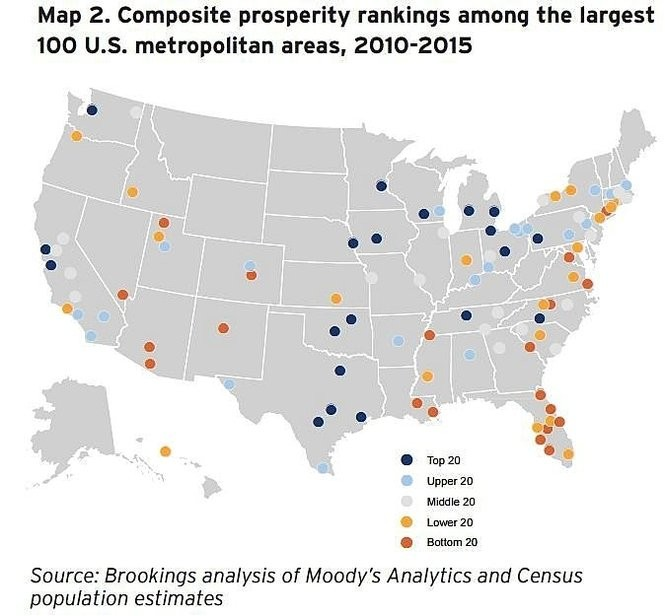 Map shows composite economic prosperity rankings among the 100 largest U.S. metropolitan areas from 2010 to 2015.