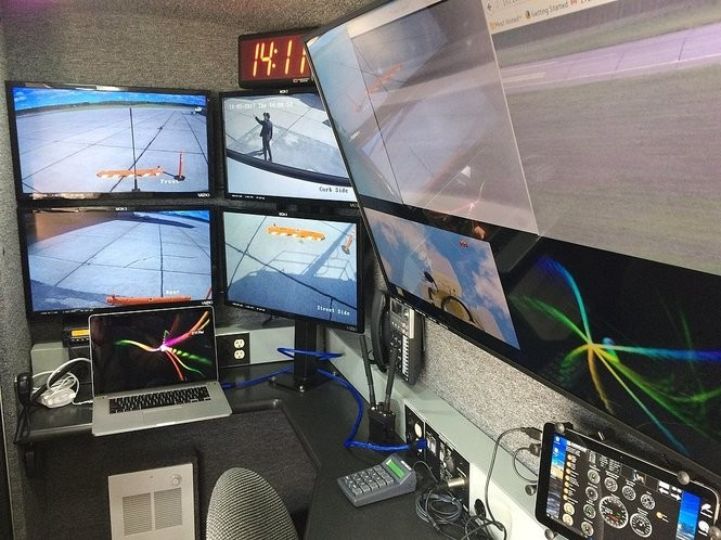 These monitors inside Gryphon Sensors' Mobile Skylight van are used to detect and track small drones up to 6 miles away.