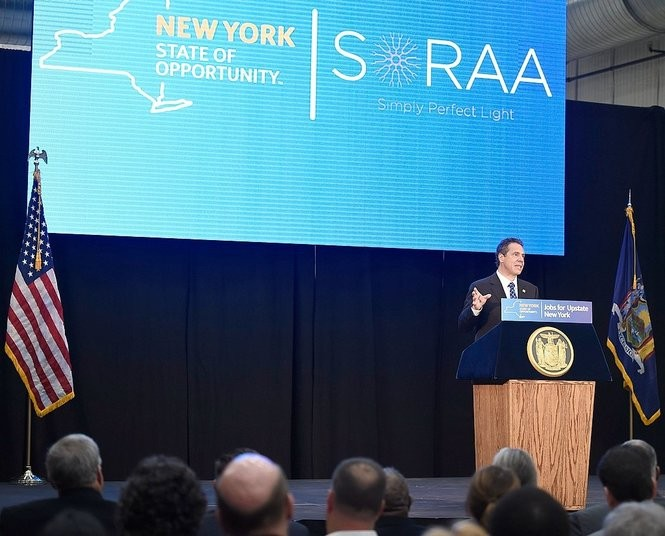 Gov. Andrew Cuomo speaks at the Central New York Hub for Emerging Nano Technologies in DeWitt on Oct. 29, 2015, during his announcement LED lighting manufacturer Soraa would operate a state-built, $90 million factory in DeWitt. (Stephen D. Cannerelli | syracuse.com)