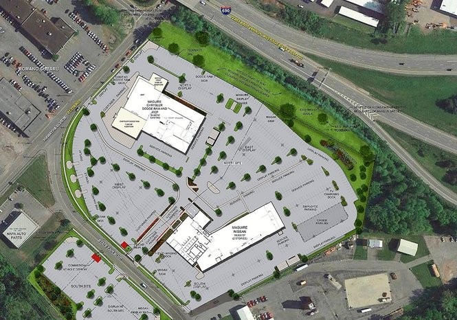 Rendering shows plans for the Maguire car dealership campus at the southeast corner of Hiawatha Boulevard and State Fair Boulevard in Syracuse. At the top will be Maguire Chrysler Dodge Jeep Ram of Syracuse, and at the bottom will be Maguire Nissan of Syracuse. (Click on photo for larger image)
