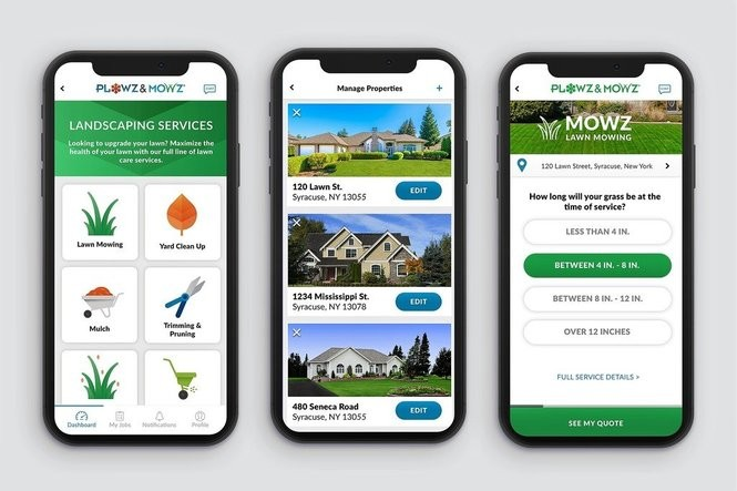 The Plowz & Mowz app allows homeowners to order snow plowing and landscaping services on-demand.