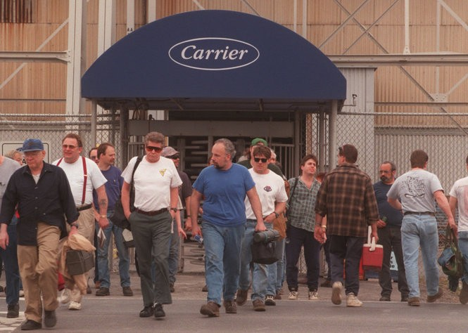 Carrier workers leave the company's TR-1 manufacturing building in Dewitt in 1998. The building was demolished in 2011. (The Post-Standard)