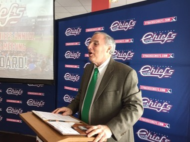 Bill Dutch, president of the Syracuse Chiefs' board of directors, addresses shareholders at a meeting Tuesday at NBT Bank Stadium.