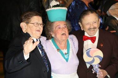 """""""The Wizard of Oz"""" original actors (L to R): Karl Slover, who was the First Trumpeter; Margaret Pellegrini, who portrayed a """"sleepyhead"""" flower pot Munchkin; and Jerry Maren, the Lollipop Guild Munchkin that handed Dorothy the lollipop. Slover passed away in 2011. Pellegrini died Wednesday."""