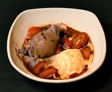 Mohegan Manor in Baldwinsville serves both Bananas Foster and this variation: Strawberries Foster or Flambe.