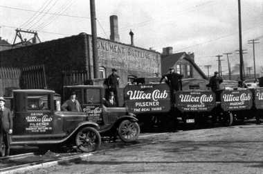 Utica Club delivery trucks at the old West End Brewing Co. (now F.X. Matt/Saranac) shipping department in Utica.