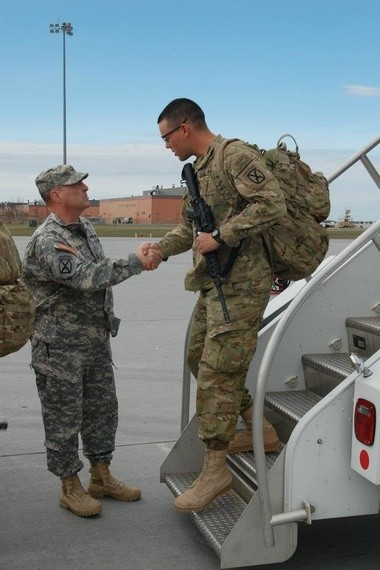 David Hammond returns to Fort Drum in 2012 after his first tour to Afghanistan. He is greeted by General Mark Milley, then Commander of the 10th Mountain Division at Fort Drum, but now Chief of Staff of the Army.