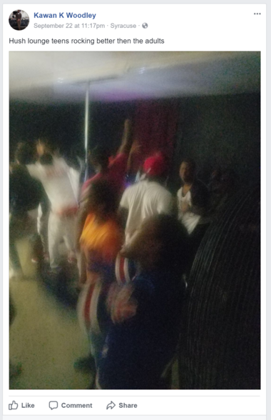 "This screenshot from Facebook appears to show the inside of Hush Lounge, which operates out of a boarded-up upholstery business. Kawan Woodley, an owner, posted this picture from ""teen night"" about 11:30 p.m. on Friday."