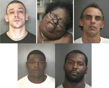 Five people have been charged in connection with a robbery and double homicide at Chili's in DeWitt on Saturday, Sept. 15, 2018. Top row, from left to right: William Wood Jr., accused shooter; Tracey Brown, accused of giving Wood the gun used in the shooting; and Ronald Green Jr., accused getaway driver. Bottom row, from left to right: Jerome C. Pinkard, accused of giving Brown the murder weapon; and Ryan Brown, accused of hindering prosecution.