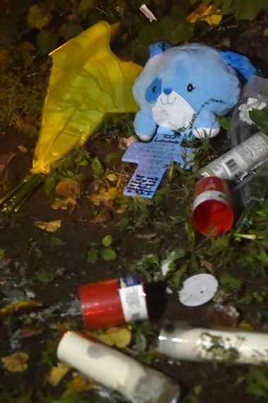 A memorial for 15-year-old Loindale Johnson was destroyed late Thursday after an earlier celebration of his life. Johnson was shot and killed Wednesday night on the 300 block of Coolidge Avenue, Syracuse. Photo by Scott Schild   sschild@syracuse.com