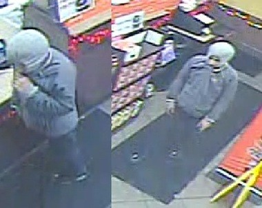 Deputies say the suspect pictured in these surveillance photos robbed the Dunkin Donuts inside Express Mart, located at 2723 Brewerton Road in Salina, at gunpoint on Sunday, Nov. 25, 2018.