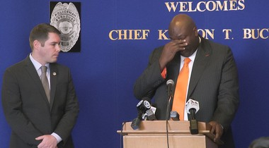 Kenton Buckner has an emotional moment Monday as he gets sworn in as the new Syracuse chief of police.