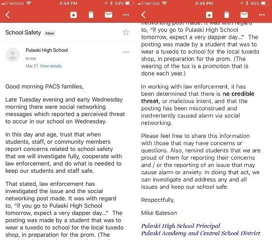 Email from Pulaski High School principal Mike Bateson obtained by The Post-Standard | Syracuse.com about a reported threat determined to be unfounded at the school.