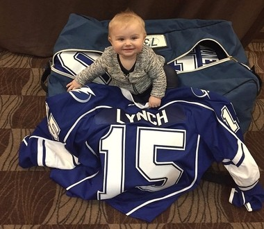 Ella Lynch, 11-month-old daughter of Syracuse Crunch forward Kevin Lynch, has become much more mobile during her stay in Syracuse.