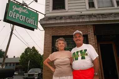 In this photo, taken around the time of Guilfoil's 50th anniversary in August 1994, Mickey Guilfoil stands with his mother, Helena.
