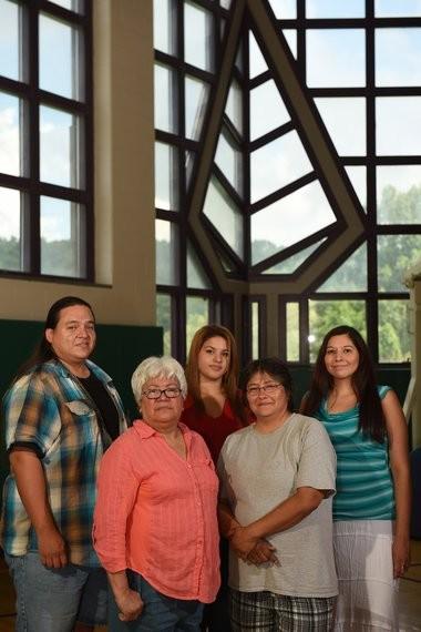 Onondaga Nation language immersion program teachers (from left to right) Jay Meacham, Cheech Honyoust, Brooke Vandewalker, Annie Shenandoah and Kalli Thomas.
