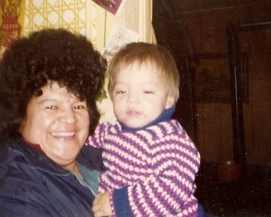 """Jay Meacham (right) with his grandmother, Evangeline Nancy Meacham, in this undated family photo. Jay Meacham said he was about 18 months old in the photo. Evangeline Meacham, who Jay called his """"nanny,"""" died in 1985. He said his grandmother spoke to him in Onondaga. Onondaga was her first language."""