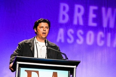 "David Katleski, owner of Empire Brewing Co. in Syracuse, speaks at the annual Craft Brewers Conference in Washington, DC in 2013 after receiving the group's ""Defender of the Industry"" award."