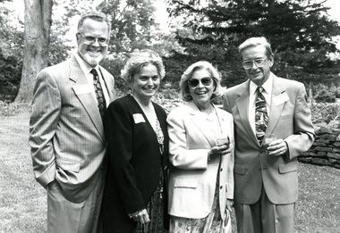 "Richard ""Dick"" Shineman (far right) takes a photo with (from left to right) former SUNY Oswego President Forest Brown and his wife Sue Brown and Shineman's wife Barbara. Dick Shineman loved SUNY Oswego and taught Chemistry."