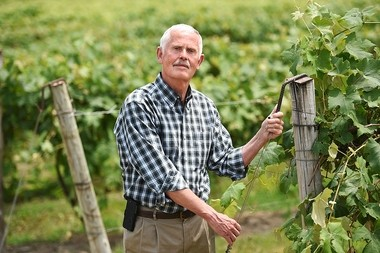 Gene Pierce is the owner of Glenora Wine Cellars, Knapp Winery and Restaurant, and Chateau LaFayette Reneau in the Finger Lakes Region of New York. He is pictured at Glenora, along the western shore of Seneca Lake, which he founded after the adoption of the New York Farm Winery Act of 1976.