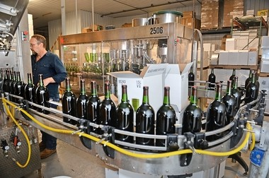 Wine-making in New York state is now a $4.8 billion industry. This is the bottling line at Montezuma Winery near Seneca Falls.