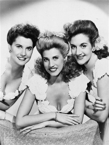 This 1947 publicity photo shows the pop vocal trio, The Andrews Sisters, from left, Maxine Andrews, Patty Andrews, and LaVerne Andrews.