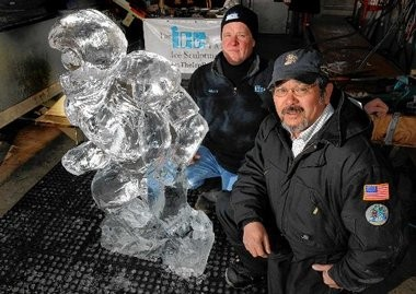 Stan Kolonko (left) and Chris Uyehara are two of the members of the Central New York team that won a gold medal in the recent World Ice Art Championships in Alaska.