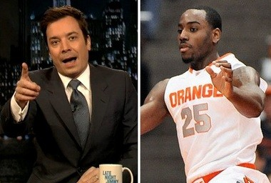 """""""Late Night"""" host Jimmy Fallon, left, says he's rooting for Syracuse basketball to win the 2013 NCAA Tournament, especially """"my man Rakeem Christmas."""""""