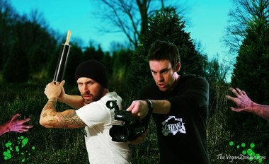 "Chittenango High School graduates Jon Tedd (2000), left, and Chris Cooney (1994) are the star and creator, respectively, of ""The Vegan Zombie,"" a YouTube cooking show with vegan recipes and tidbits about surviving the zombie apocalypse."