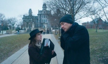 """Emma Roberts talks to John Cusack in a scene from """"Adult World,"""" filmed on the Syracuse University campus."""